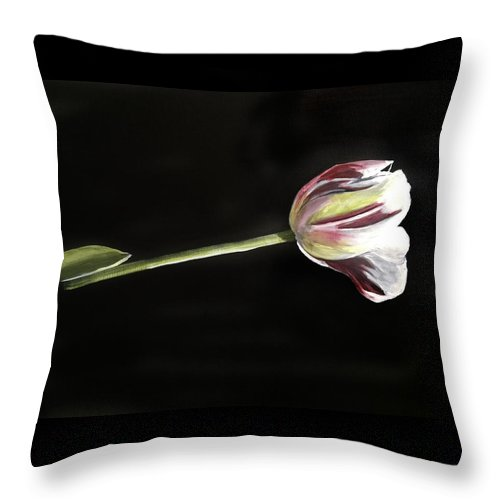 Flower Throw Pillow featuring the painting Tulip by Cheri Homaee