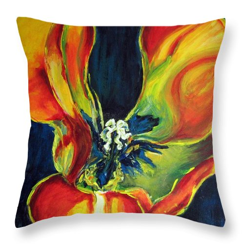 Tulip Throw Pillow featuring the painting Tulip by Dragica Micki Fortuna