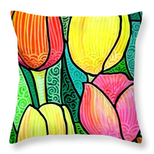 Tulips Throw Pillow featuring the painting Tulip Expo by Jim Harris