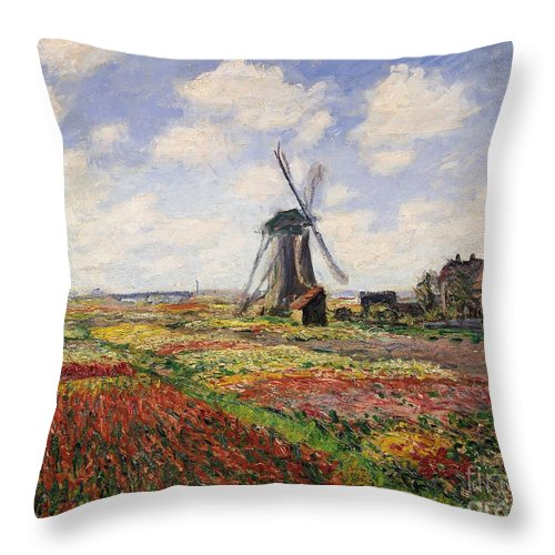 Claude Monet Throw Pillow featuring the painting Tulip Fields With The Rijnsburg Windmill by Claude Monet