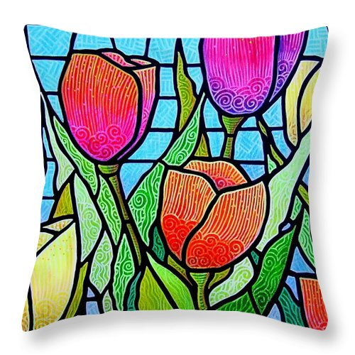 Tulips Throw Pillow featuring the painting Tulip Garden by Jim Harris