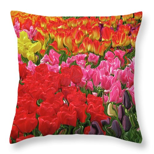 Abstract Throw Pillow featuring the photograph Tulip Garden by Kathy Moll