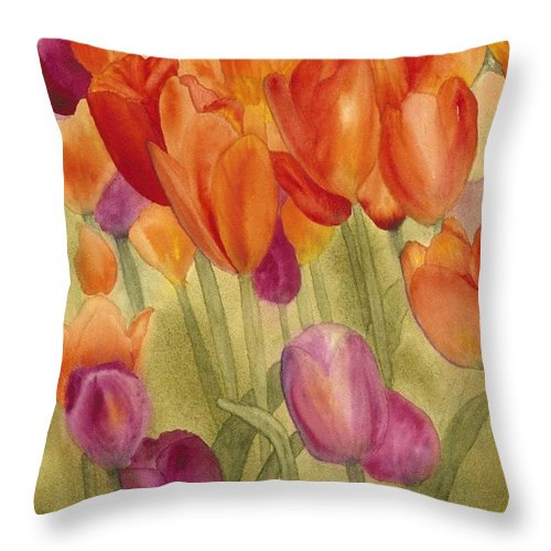 Tulips Throw Pillow featuring the painting Tulip Glory by Louise Magno