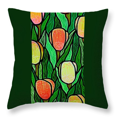 Tulips Throw Pillow featuring the painting Tulip Joy 2 by Jim Harris