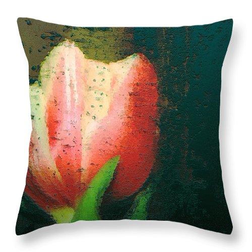 Tulip Throw Pillow featuring the photograph Tulip Of Love by Linda Sannuti