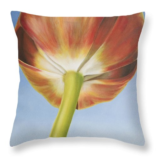 Flower Throw Pillow featuring the painting Tulip by Rob De Vries