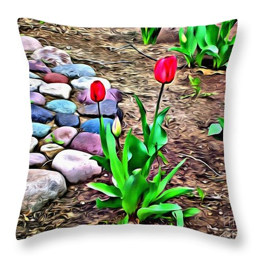 Tulips Throw Pillow featuring the photograph Tulip Rock Garden by Beauty For God