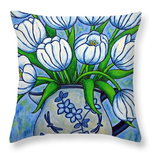 Flower Throw Pillow featuring the painting Tulip Tranquility by Lisa Lorenz