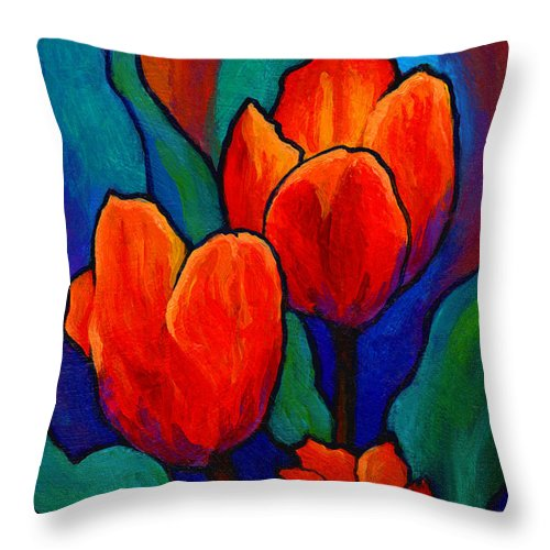 Floral Throw Pillow featuring the painting Tulip Trio by Marion Rose