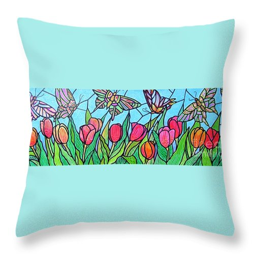 Spring Throw Pillow featuring the painting Tulips And Butterflies by Jim Harris