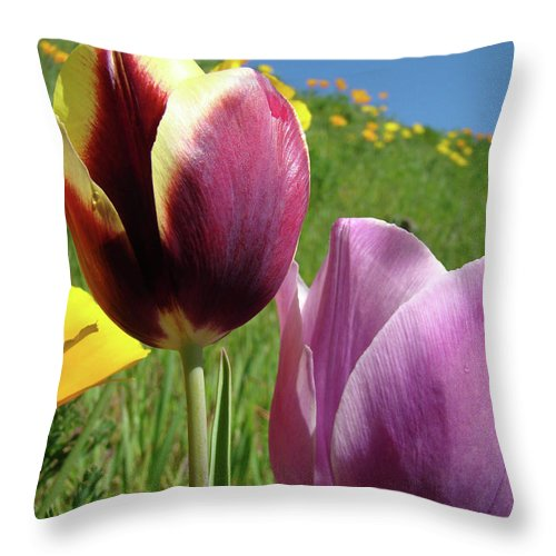 �tulips Artwork� Throw Pillow featuring the photograph Tulips Artwork Tulip Flowers Spring Meadow Nature Art Prints by Baslee Troutman