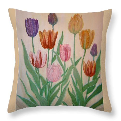 Flowers Of Spring Throw Pillow featuring the painting Tulips by Ben Kiger