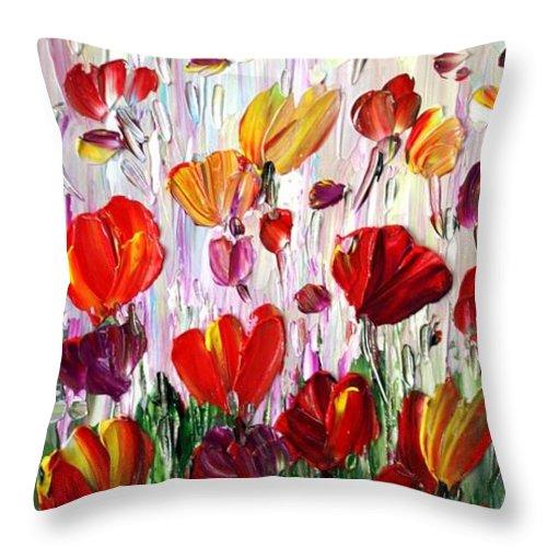 Flowers Throw Pillow featuring the painting Tulips Flowers Garden Seria by Luiza Vizoli