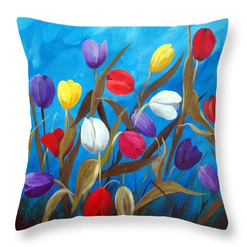 Tulips Throw Pillow featuring the painting Tulips Galore II by Ruth Palmer