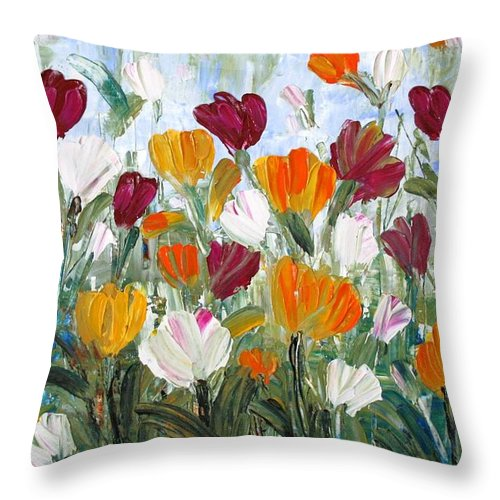 Oil Throw Pillow featuring the painting Tulips Garden by Luiza Vizoli