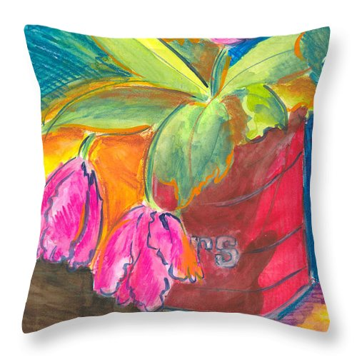 Flowers Throw Pillow featuring the painting Tulips In Can by Jean Blackmer