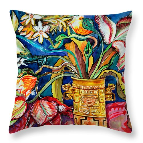 Flowers Throw Pillow featuring the painting Tulips In Mexican Vase by Yelena Tylkina
