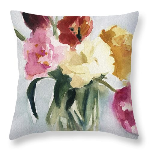 Floral Throw Pillow featuring the painting Tulips In My Studio by Beverly Brown