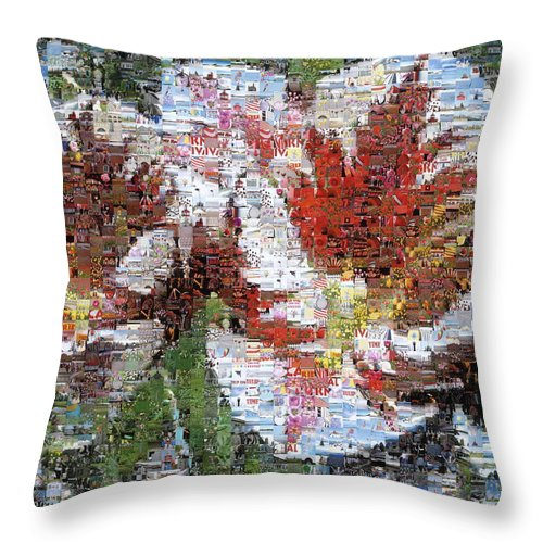 Lighthouse Throw Pillow featuring the photograph Tulips In Springtime Photomosaic by Michelle Calkins