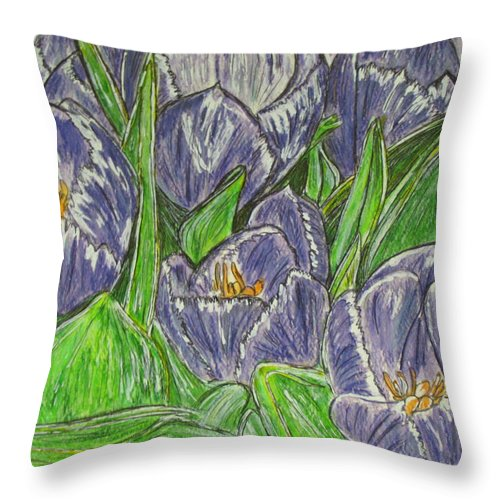 Tulips Throw Pillow featuring the painting Tulips In The Spring by Kathy Marrs Chandler