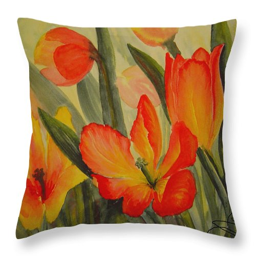 Spring Tulips Throw Pillow featuring the painting Tulips by Joanne Smoley
