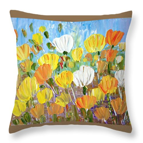 Flowers Throw Pillow featuring the painting Tulips by Luiza Vizoli