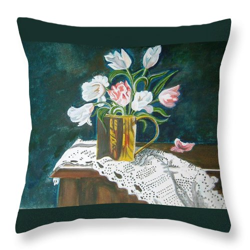 Tulips Throw Pillow featuring the painting Tulips by Manjiri Kanvinde