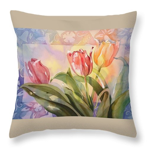 Tulips Throw Pillow featuring the painting Tulips by Marlene Gremillion