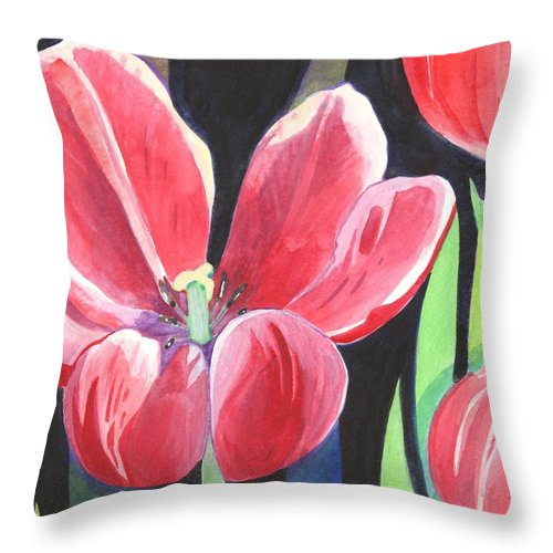 Flower Throw Pillow featuring the painting Tulips On Black by Helena Tiainen
