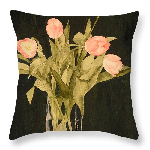 Tulips Throw Pillow featuring the painting Tulips On Velvet by Louise Magno