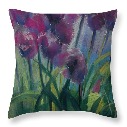 Flowers Throw Pillow featuring the painting Tulips by Synnove Pettersen