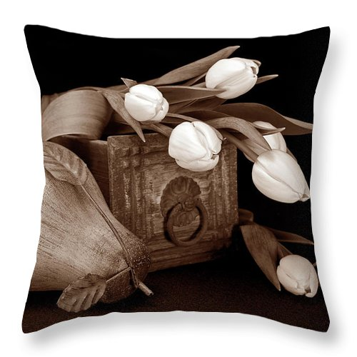 Flower Throw Pillow featuring the photograph Tulips With Pear II by Tom Mc Nemar