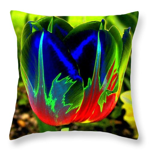 Resplendent Throw Pillow featuring the digital art Tulipshow by Will Borden