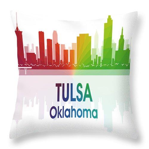 Tulsa Throw Pillow featuring the digital art Tulsa Ok 1 Vertical by Angelina Tamez