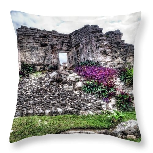 Tulum Throw Pillow featuring the photograph Tulum Temple Ruins No.2 by Tammy Wetzel