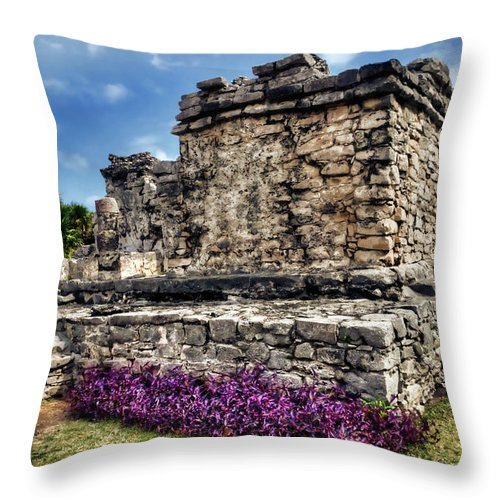 Tulum Throw Pillow featuring the photograph Tulum Temple Ruins by Tammy Wetzel