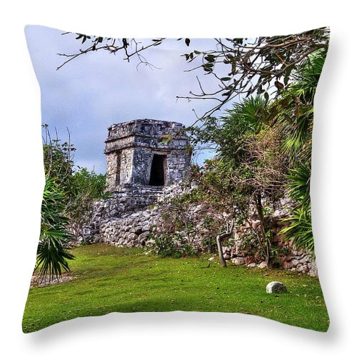 Tulum Throw Pillow featuring the photograph Tulum Watchtower by Tammy Wetzel