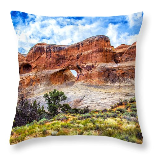 Arches Throw Pillow featuring the photograph Tunnel Arch Trail View by Roberta Bragan