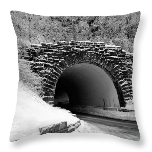 Black And White Throw Pillow featuring the photograph Tunnel by Kristin Elmquist