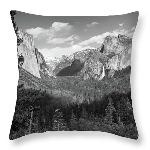 Tunnel View Throw Pillow featuring the photograph Tunnel View Shadow Bw by Cheryl Del Toro