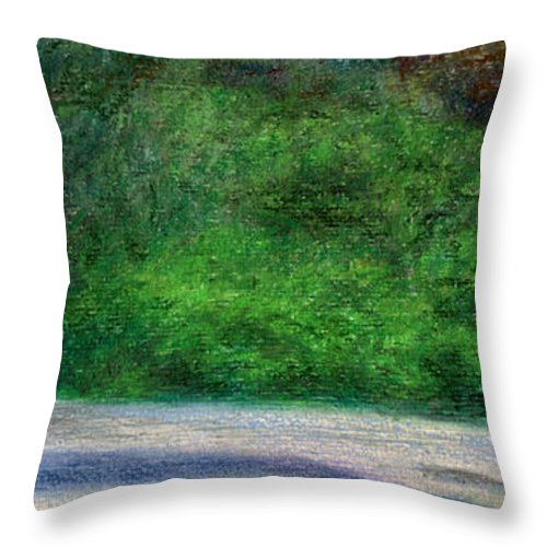 Rainbow Colors Pastel Throw Pillow featuring the painting Tunnels Beach by Kenneth Grzesik