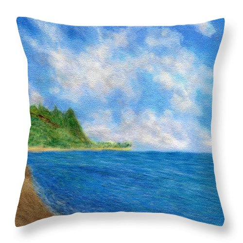 Rainbow Colors Pastel Throw Pillow featuring the painting Tunnels Beach Sky by Kenneth Grzesik