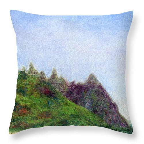 Rainbow Colors Pastel Throw Pillow featuring the painting Tunnels Beach View by Kenneth Grzesik
