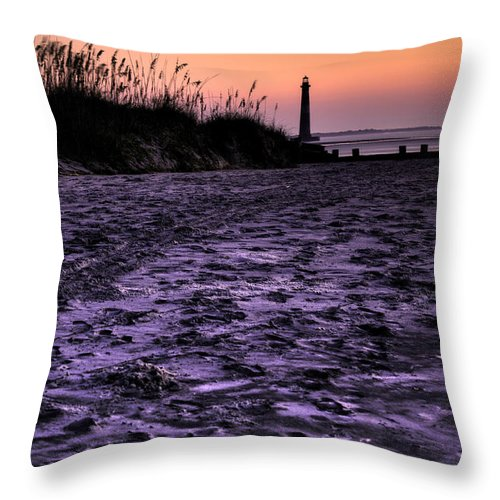 Morris Island Light House Morning Folly Beach Lowcountry South Carolina Landscape Water Beach Hdr Throw Pillow featuring the photograph Turbulant Sands by Dustin K Ryan