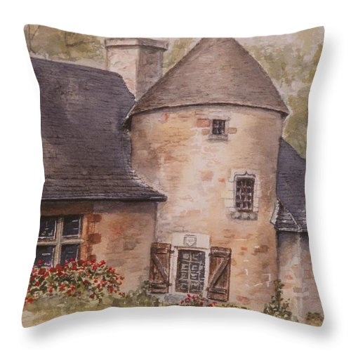 Watercolor Throw Pillow featuring the painting Turenne by Mary Ellen Mueller Legault
