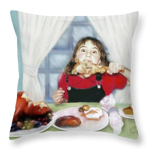 Thanksgiving Throw Pillow featuring the digital art Turkey Girl by Colleen Taylor