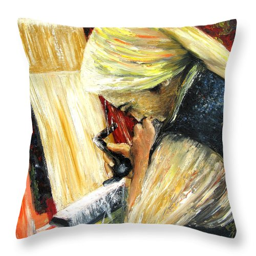 People Throw Pillow featuring the painting Turkish Weaver by Leonardo Ruggieri