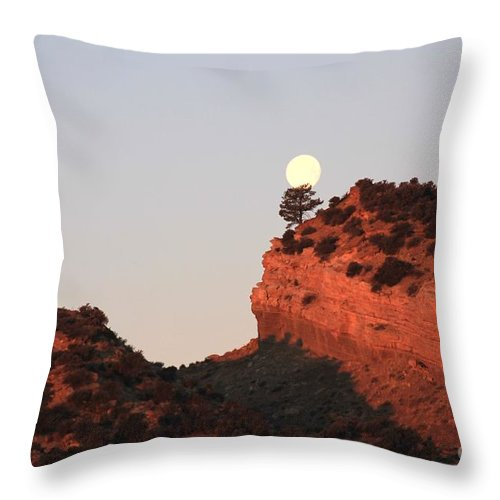 Sunset Throw Pillow featuring the photograph Turk's Moon by Carole Martinez