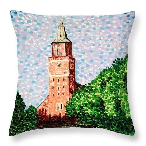 Finnish Throw Pillow featuring the painting Turku Cathedral by Alan Hogan