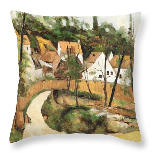 Cezanne Throw Pillow featuring the painting Turn In The Road Reproduction Of Cezannes Work. by Ekaterina Mortensen